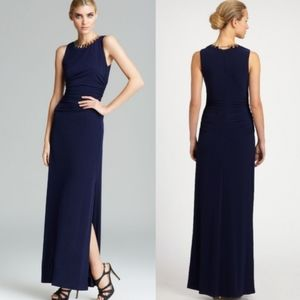 Laundry Shelli Segal Navy Necklace Gown Dress 12